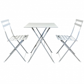 Set da Pranzo Bianco in Acciaio con Tavolo Quadrato e 2 Sedie Pieghevoli