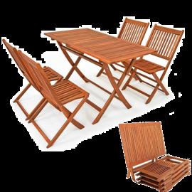 Set da Pranzo Tavolo e Sedie da Giardino Pieghevoli 4 Posti in Legno d'Acacia 120x70x75h