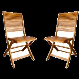 Set Sedie in Legno da Giardino Pieghevole in legno con Finitura ad Olio 50x42x90h