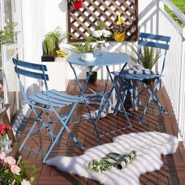 Set da Giardino in Acciaio con Tavolo Rotondo e 2 Sedie Pieghevoli Blu