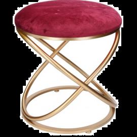 Pouf Puff Sgabello Poggiapiedi in Velluto Design Indoor 36x42h Rosso