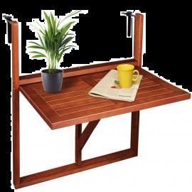 Tavolino da Balcone Pieghevole per Esterno, da Appendere, Salvaspazio, in Legno d'Acacia – 80x60