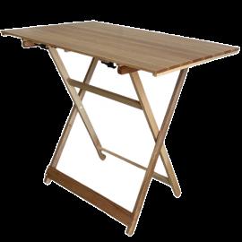 Tavolo da Giardino Pieghevole per Esterno  Altezza Regolabile in Legno Massello – 96x59x80
