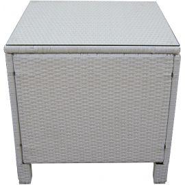 Tavolino per Esterno in Polyrattan e  Vetro Temperato Struttura in Acciaio Design Moderno 65x65x65 Bianco