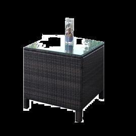 Tavolino per Esterno in Polyrattan e  Vetro Temperato Struttura in Acciaio Design Moderno 65x65x65 Marrone