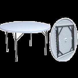 Tavolo Pieghevole da Giardino Campeggio Rotondo Bianco Salvaspazio 180x74h
