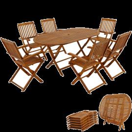 Tavolo e Sedie da Giardino per Esterno Pieghevoli in Legno d'Acacia 6 Sedie 1 Tavolo 160x85x74h