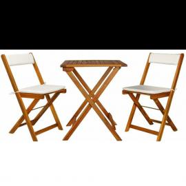 Set Tavolo e Sedie da Giardino per Esterno, in Legno di Acacia, Set da Pranzo, Pieghevoli, per Balcone – 40x51x81h