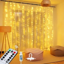Tenda Luminosa a Cascata Natalizia USB 300 Mini Luci LED Telecomando 8 Giochi di Luce