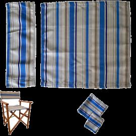 Tessuti Ricambio Sedia da Regista Lavabili in Poliestere – Ecrù Blu e Beige 50x50