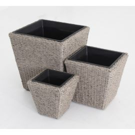 Set 3 portavasi vasi rettangolari in rattan in 3 misure differenti