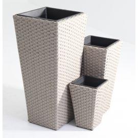 Set 3 portavasi vasi rettangolari alti in rattan in 3 misure differenti