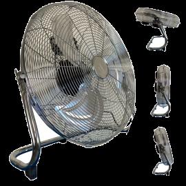 Ventilatore da Tavolo, in Metallo Cromato, Inclinazione Regolabile, 90 W, 3 Livelli di Potenza – 50x54h