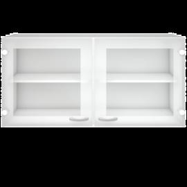 Vetrinetta Pensile da Cucina Mobile Sospeso 2 Ripiani in Legno e Vetro - 98x34x54 Bianco