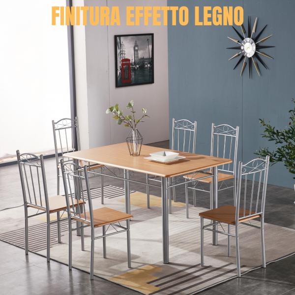Tavolo Da Pranzo Legno Con 6 Sedie Set Mobili In Legno Acciaio Cucina Casa Cm 140x70