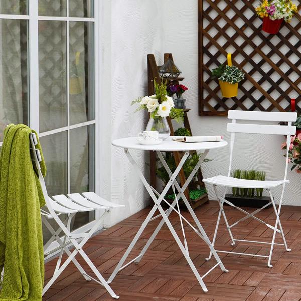 Set Pranzo Da Giardino Tavolo Con 2 Sedie In Acciaio Bianco